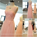 2015 New Pink A Line Crystal Beading