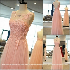 2015 New Pink A Line Crystal Beading Evening Dress Floor Length 2322