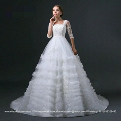 Half Sleeved Appliqued A Line Wedding Dress With Train Lace Up HS-016
