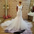 New Sweetheart Satin Lace Beading Mermaid Wedding Dress With Train S308