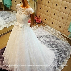 Lace Satin Ball Gown Wedding Dress With Long Train Custom Made xj02045