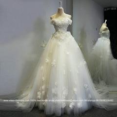 一字肩復古花瓣釘珠新娘拖尾蓬蓬裙婚紗綁帶定製大碼顯瘦 2222