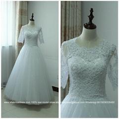 韓式新款中袖蕾絲齊地蓬蓬裙婚紗可定製拖尾款WG154