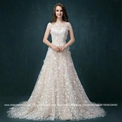 新款香檳色公主A擺裙蕾絲花朵拖尾婚紗2058