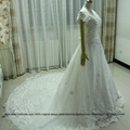 Off Shoulder Satin Tulle A Line  Wedding Dress With Train X06