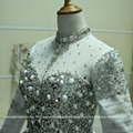 2016 New Full Sleeved Heavy Beaded Ball Gown Wedding Dress With Train G165