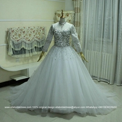 重工釘珠長袖蓬蓬裙拖尾婚紗大碼綁帶鑲高檔A級玻璃鑽G165