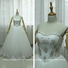 Cheap Sweetheart Bling Bling Ball Gown Wedding Dress Floor Length G163