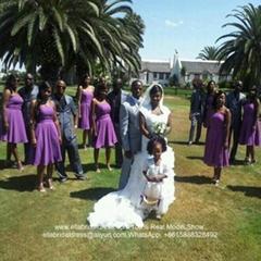 實拍短款紫色雪紡伴娘團禮服 N01