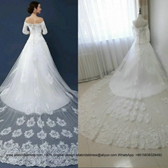 2016  A Line Off Shoulder Half Sleeved Lace Wedding Dress With Long Train G187