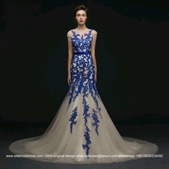 016 New Champange Mermaid Long Train Wedding Dress With Blue Applique G186