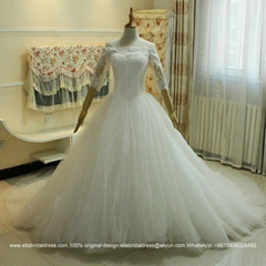 Off Shoulder Sleeved Lace Tulle Ball Gown Wedding Dress With Train G161