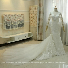 Top Quality Sleeved Mermaid Lace Bridal Dress Detached Train G183