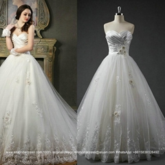 Popular Cheap A Line Lace Beading Bridal Gown With Train G188