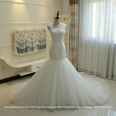 Bride Real Wedding Show Sexy Mermaid Lace Wedding Dress With Long Train G166