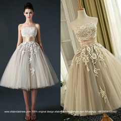 Strapless T Length Lace Tulle Wedding Dress XLF005