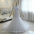 Luxurious Mermaid French Lace Wedding Dress With Long Train Custom Made G196