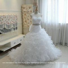 Luxurious Sweetheart Organza Satin Ruffled Ball Gown Wedding Dress G197