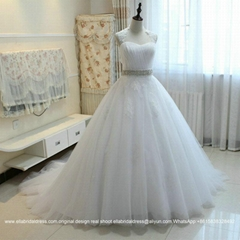 2016 New Design Ball Gown Lace Soft Tulle Wedding Dress With Train