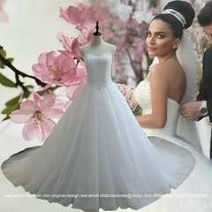 Luxury Sweetheart Strapless Lace Tulle Wedding Dress With Long Train G198