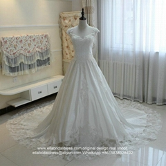 Luxury A Line Soft Satin Royal Wedding Dress With Long Train G200