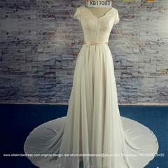 New Chiffon Lace A Line Beach Wedding Dress With Train KB17083