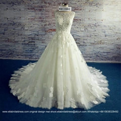 Luxury Flower Lace Ball Gown Bridal Dress With Train Lace Up KB17066