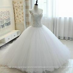 原創奢華重工釘珠鑲鑽宮廷超大蓬蓬裙拖尾婚紗G209