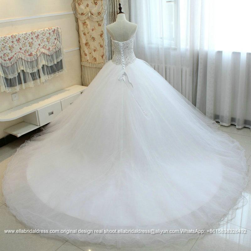 Heavy beading sexy big ball gown wedding dress with long for Ball gown wedding dresses with long trains