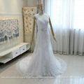 New Real Show A Line Lace Beach Wedding Dress Lace Up With Train G210