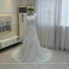 Sexy Ruffled And Pleated Organza Lace Wedding Gown With Train G215