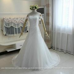 愛妮雅夏韓式新款甜美一字肩A擺軟網蕾絲拖尾婚紗G216