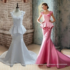 Mermaid Sexy Lace Satin Lace Formal Wedding Dress With Train G218