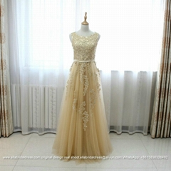New Arrival Champagne A Line Lace Soft Tulle Party Dress E181