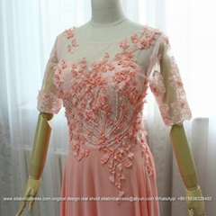 Half Sleeved A Line Chiffon Lace Evening Dress With Hand Made Flowers E159
