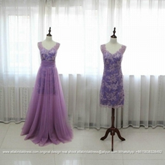 Purple A Line Lace Tulle