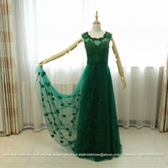 Dark Green A Line Lace Tulle Evening Dresses With Flowers E182