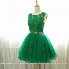 Elegent Strapless Red Lace Beadomg Short Party Dress Bridesmaid Dress CK35