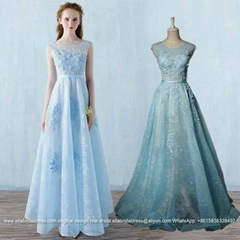 Sky Blue Floor Length Lace Evening Dress With Flowers E161