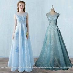 Sky Blue Floor Length Lace Evening Dress With Flowers E161