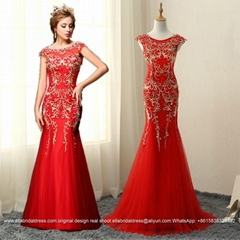 Embroidery And Beaded Mermaid Lace Prom Dress Floor Length E163