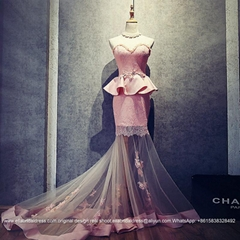 Sexy Mermaid Pink Satin Lace Evening Gown With Detached Skirt E168