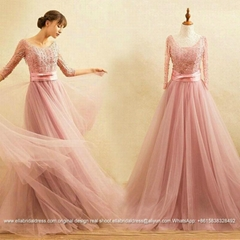 New Arrival Sleeved Floor Length Lace Tulle Prom Dress With Beads E169