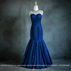 Beading Mermaid Blue Lace Evening Dress New Real Model Show E175
