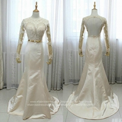 Sexy See Through Satin Lace Champagne Mermaid Wedding Dress With Train G238