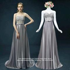 Sweetheart Strapless A Line Appliqued Grey Evening Dress Graduation Dress E126