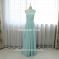 One Shoulder Beaded A Line Light Green Chiffon Bridesmaid Dress N51