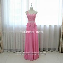 One Shoulder A Line Appliqued Floor Length Evening Gown Bridesmaid Dress N58