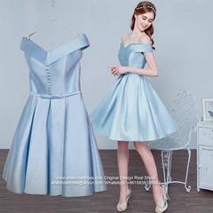 Off Shoulder Knee Length A Line Satin Bridesmaid Dress N53