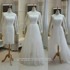 Sleeved High Low Lace Tulle Beach Wedding Dress With Detached Skirt G236